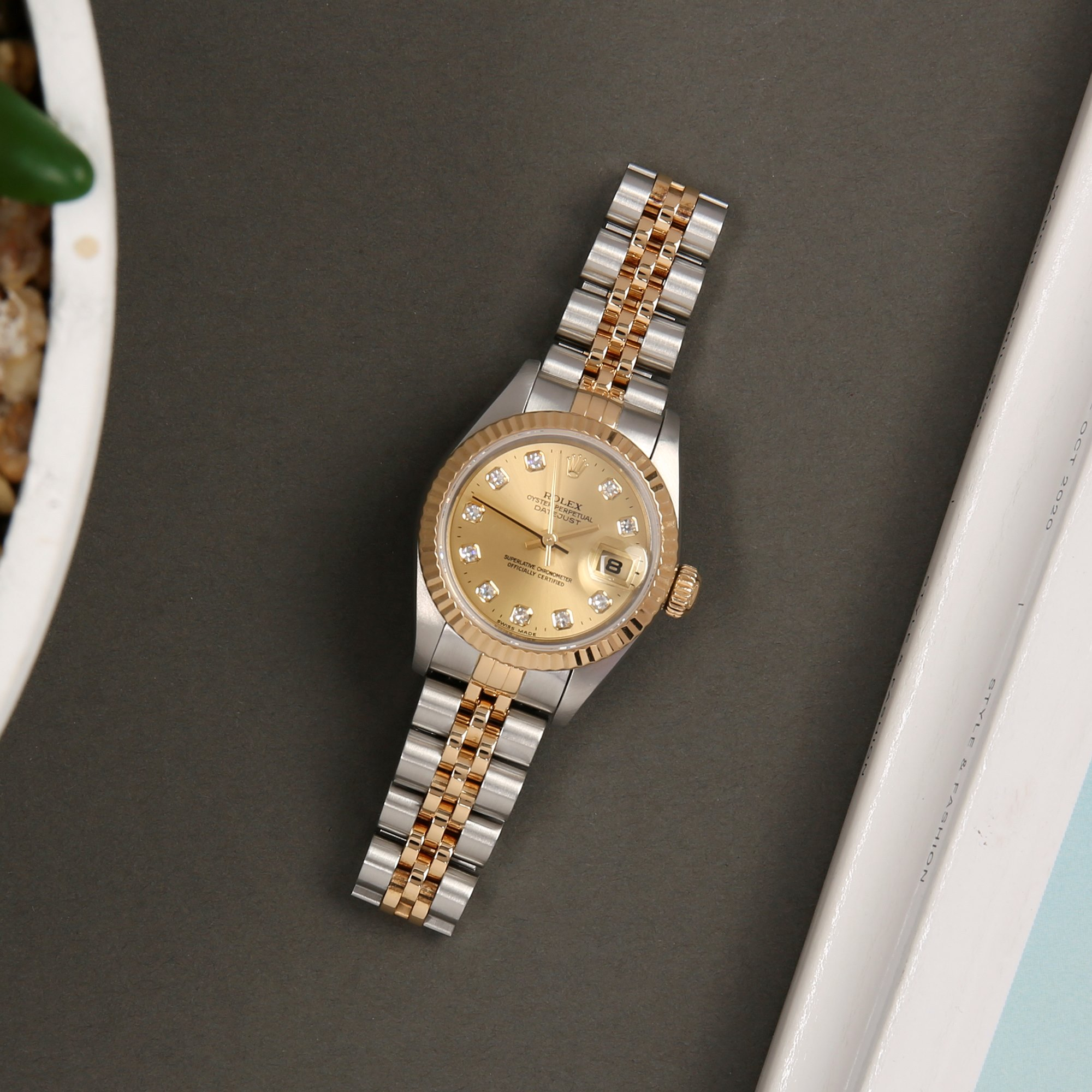 Rolex Datejust 26 Diamond 18K Stainless Steel & Yellow Gold 79173G