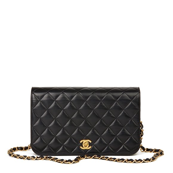 Chanel Black Quilted Lambskin Vintage Classic Single Full Flap Bag