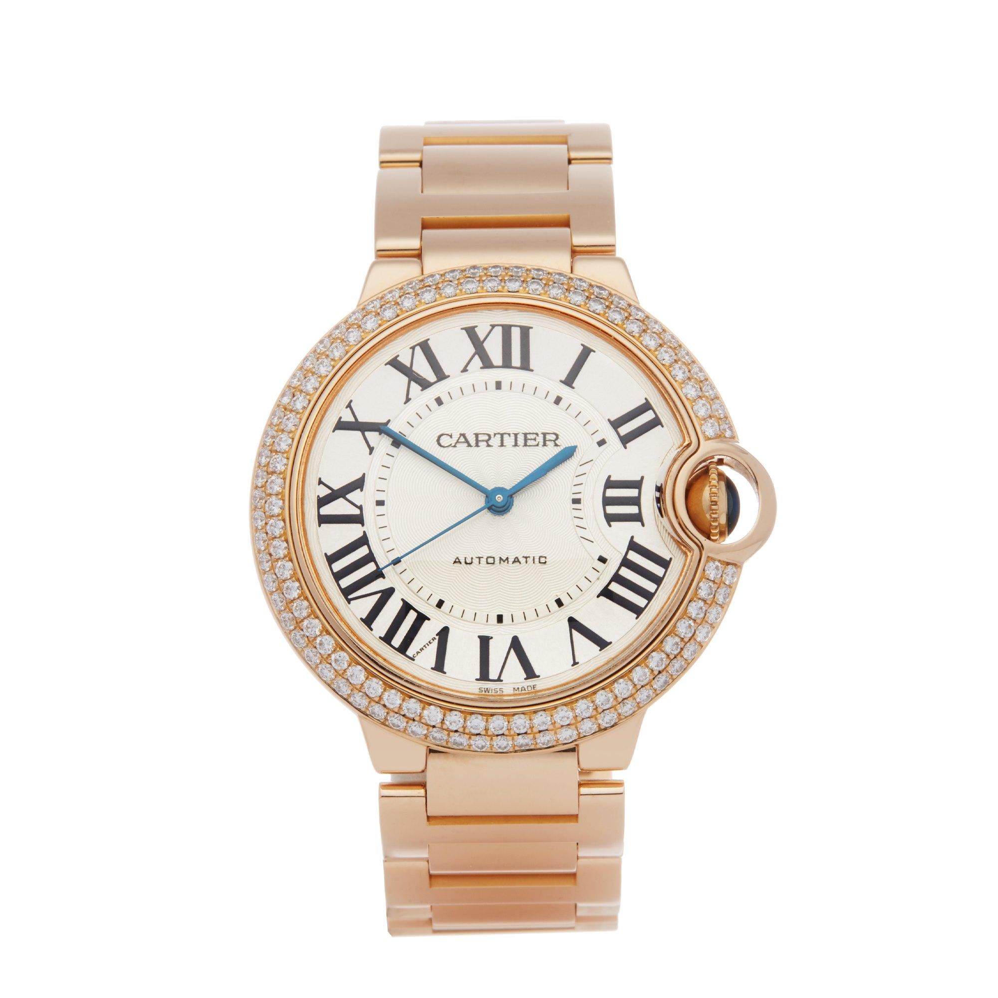 Cartier Ballon Bleu 36 Diamond 18K Rose Gold WJBB0005 or 3003