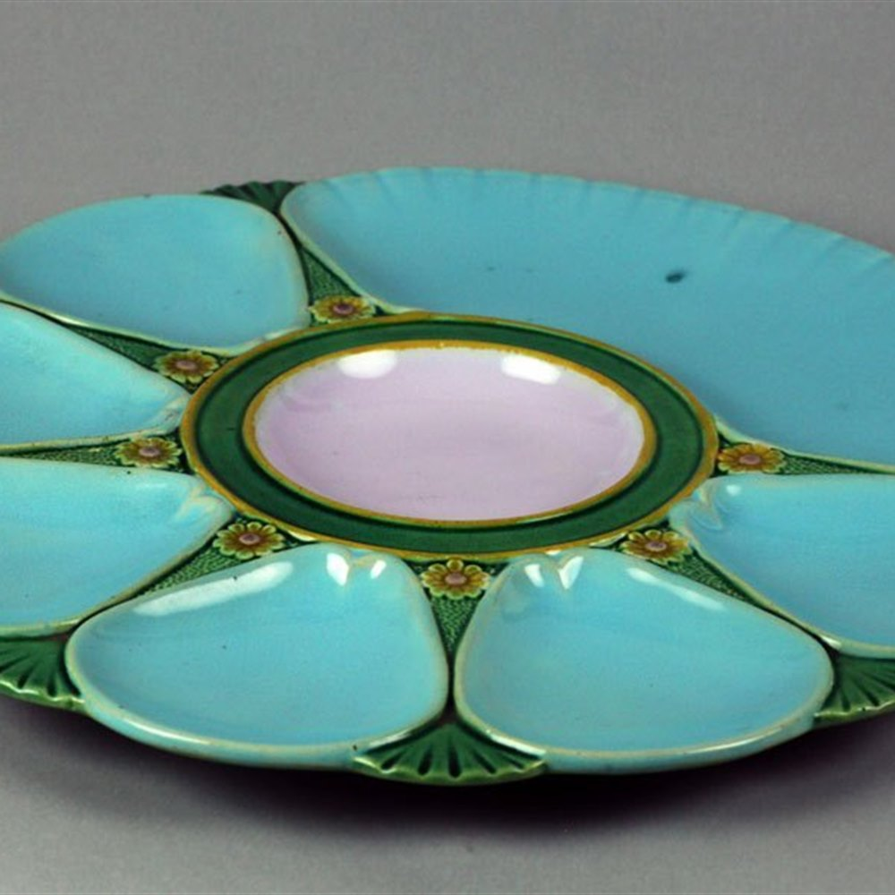 Antique Minton Majolica Oyster Dish 1880