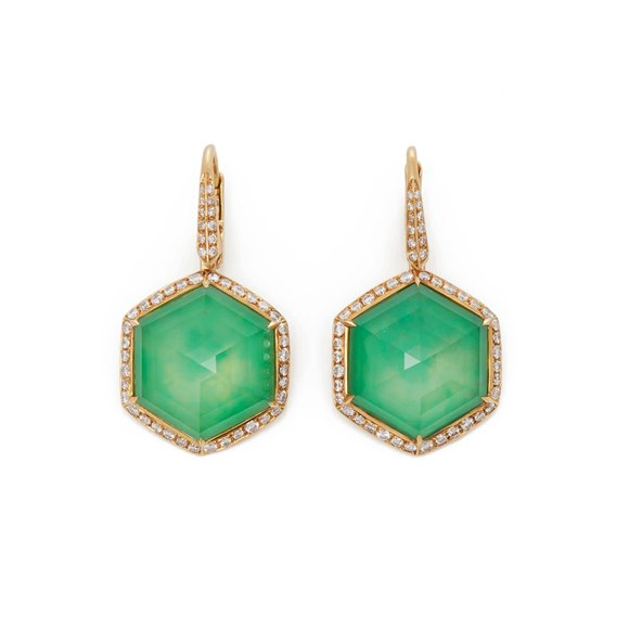 Stephen Webster 18k Yellow Gold Green Agate and Diamond Deco Haze Drop Earrings