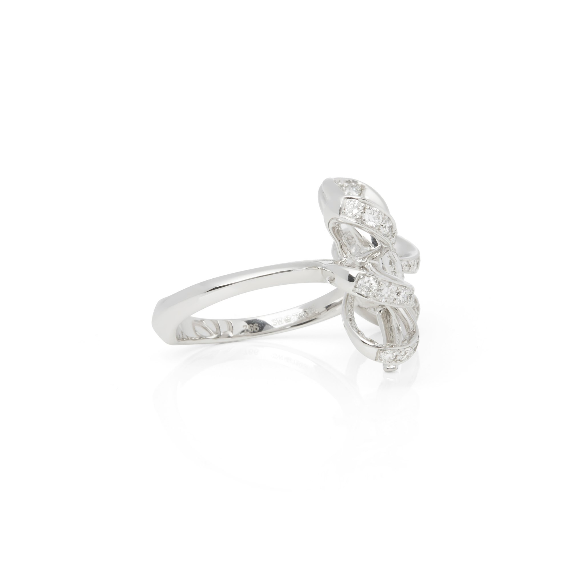 Stephen Webster 18k White Gold Forget Me Knot Pave Diamond Bow Ring