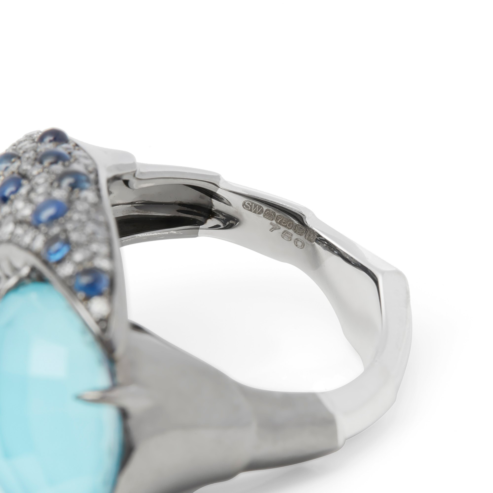 Stephen Webster 18k White Gold Jewels Verne Turquoise and Blue Sapphire Ring