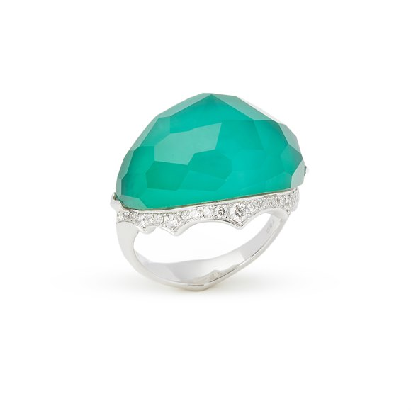 Stephen Webster 18k White Gold Murder She Wrote Green Agate and Diamond Ring