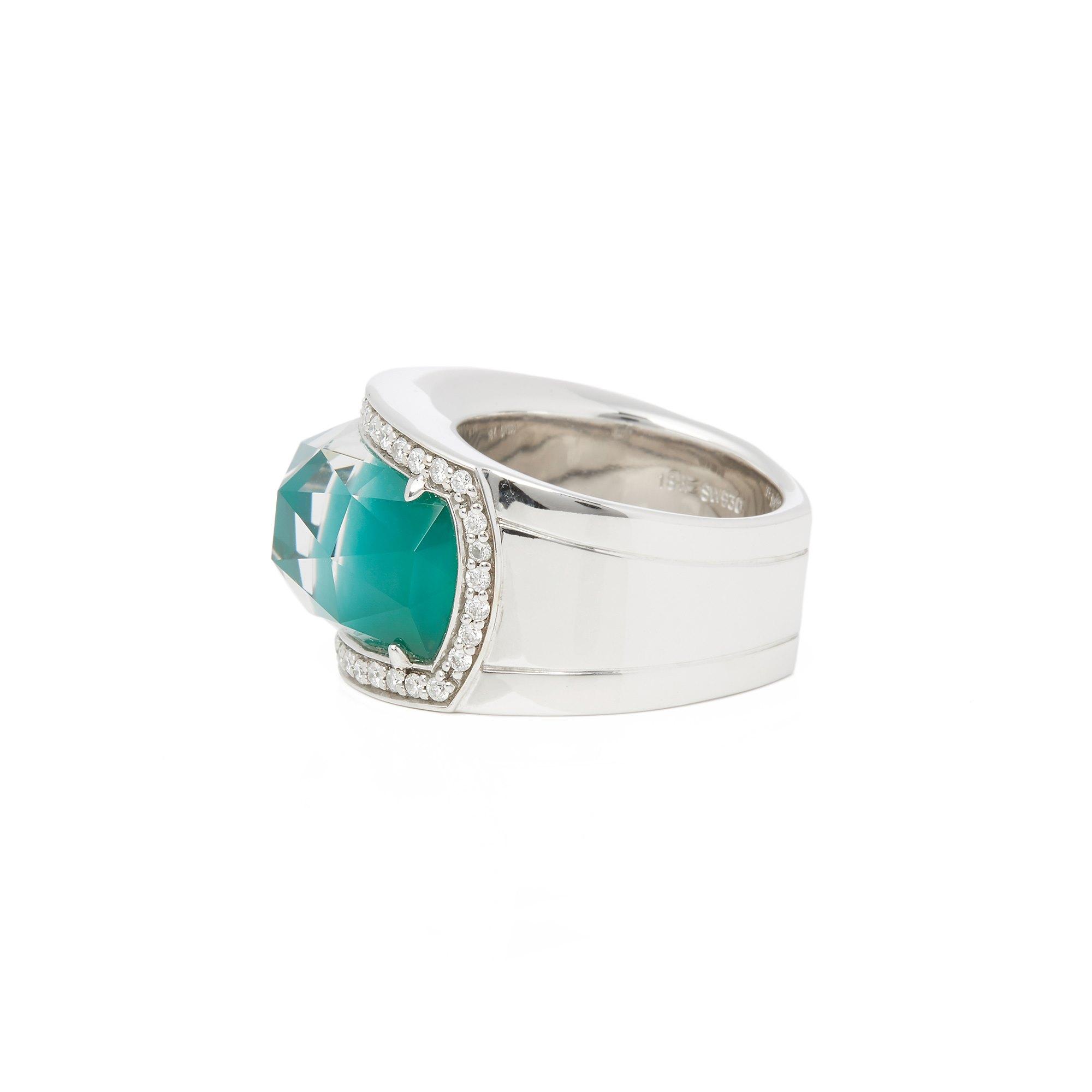 Stephen Webster 18k White Gold Green Agate Crystal Haze Ring
