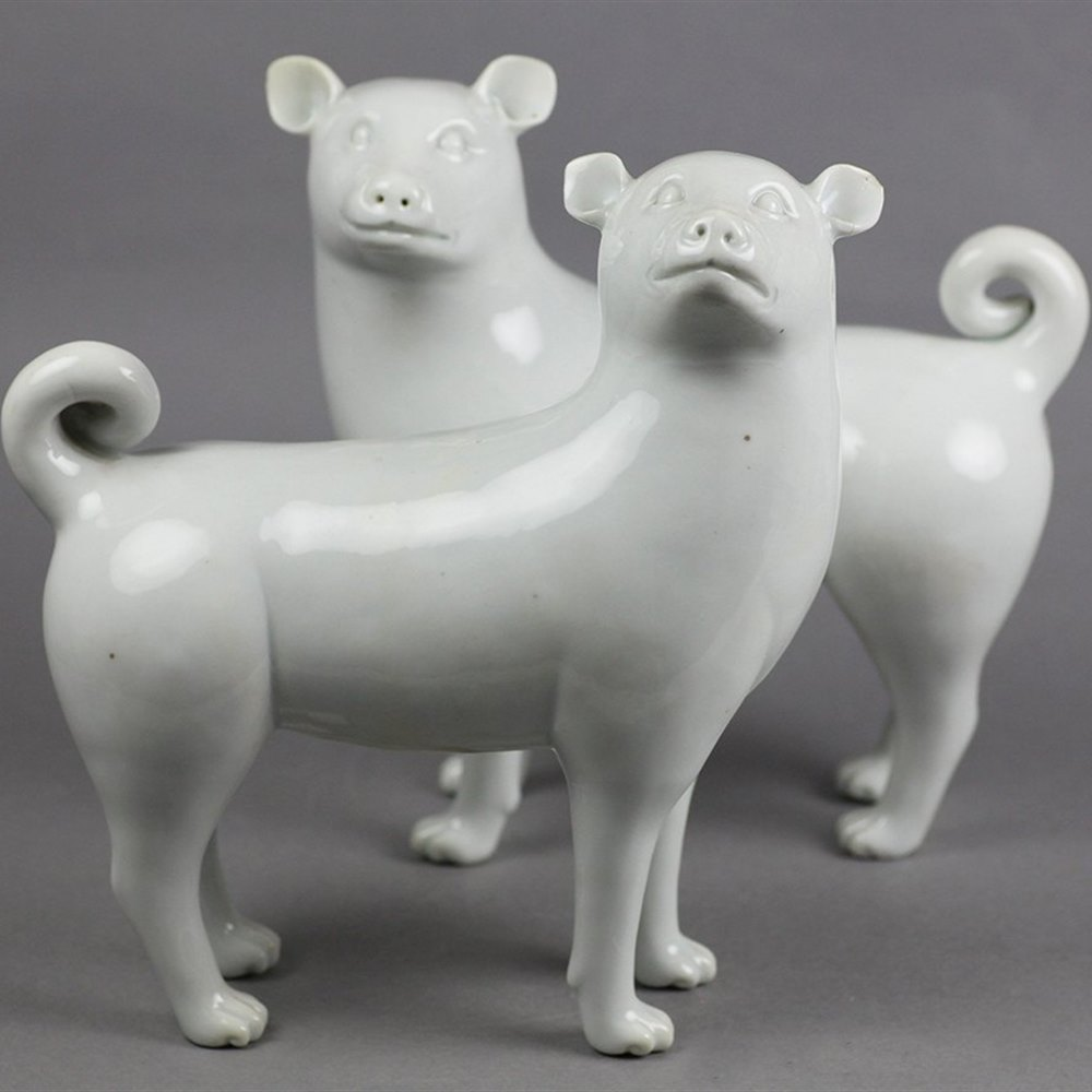 BLANC DE CHINE PORCELAIN DOGS Qing Dynasty dating from the 18th or 19th century