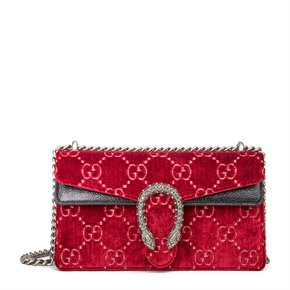 Gucci Red GG Velvet & Black Aged Patent Calfskin Leather Small Dionysus