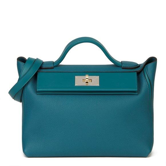 Hermès Vert Bosphore Togo & Swift Leather Leather 24/24 29cm