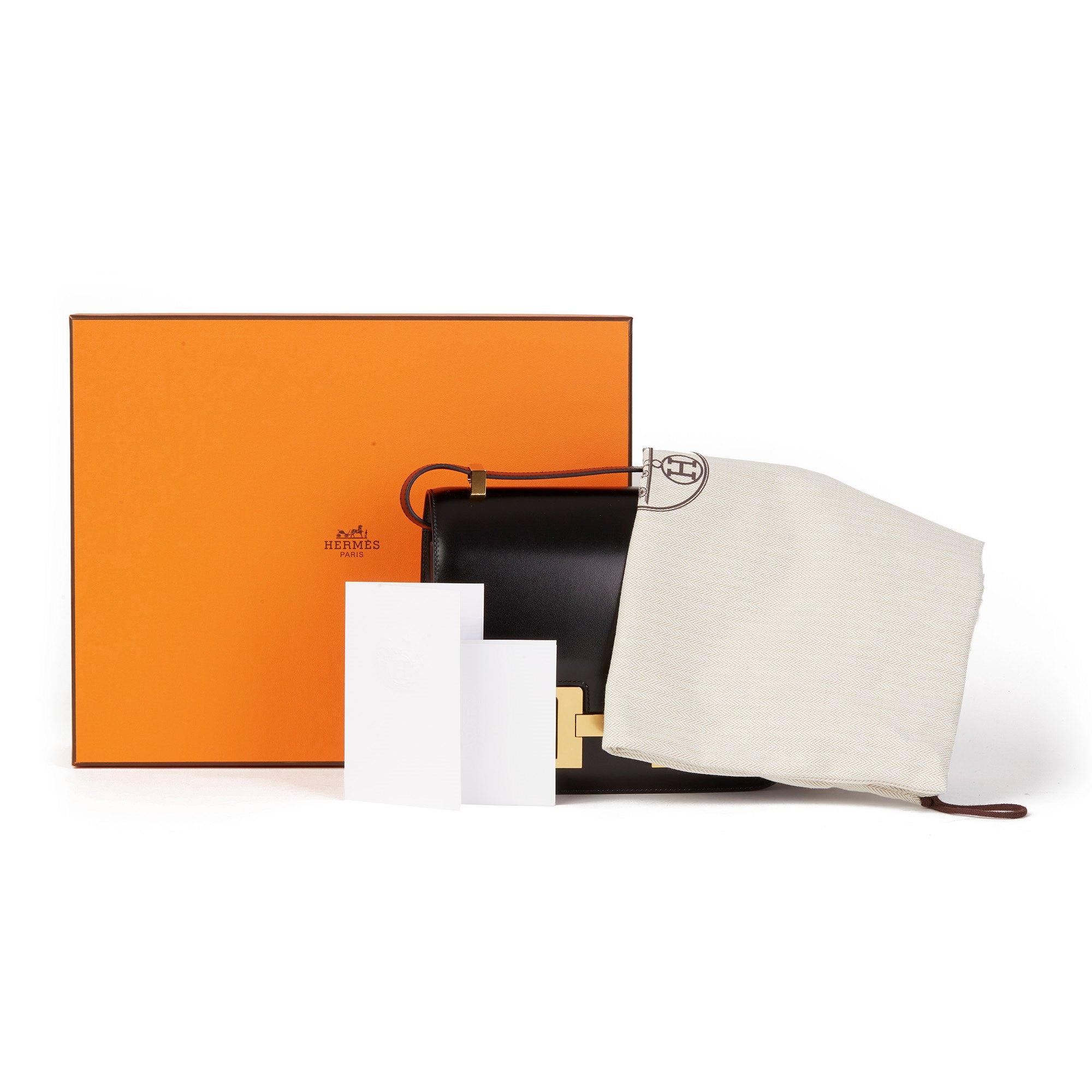 Hermès Black Box Calf Leather Constance 23