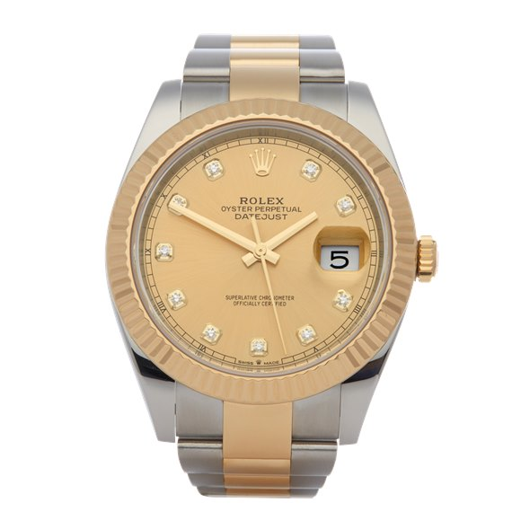 Rolex Datejust 41 Diamond Stainless Steel & Yellow Gold - 126333