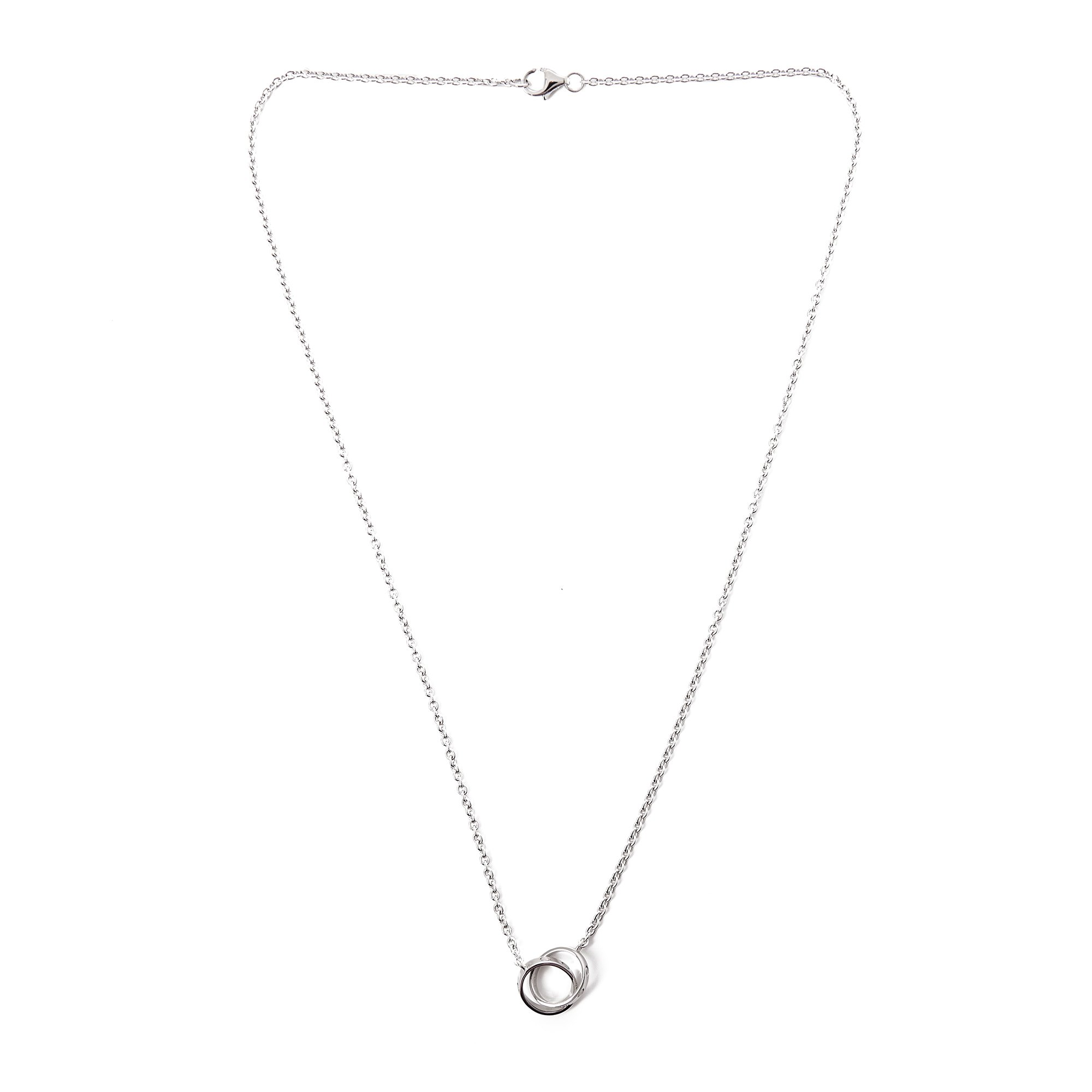 Cartier 18k White Gold Double Love Ring Necklace