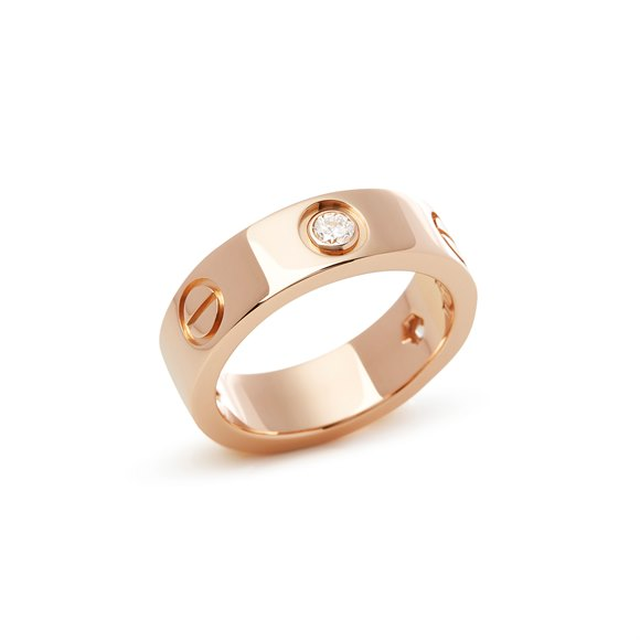 Cartier 18k Rose Gold 3 Diamond Love Ring