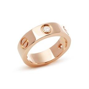 Cartier 18k Rose Gold 3 Diamond Love Ring