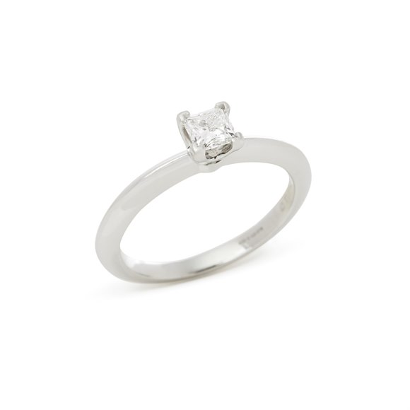 Tiffany & Co. Platinum Princess Cut Diamond Solitraire Ring