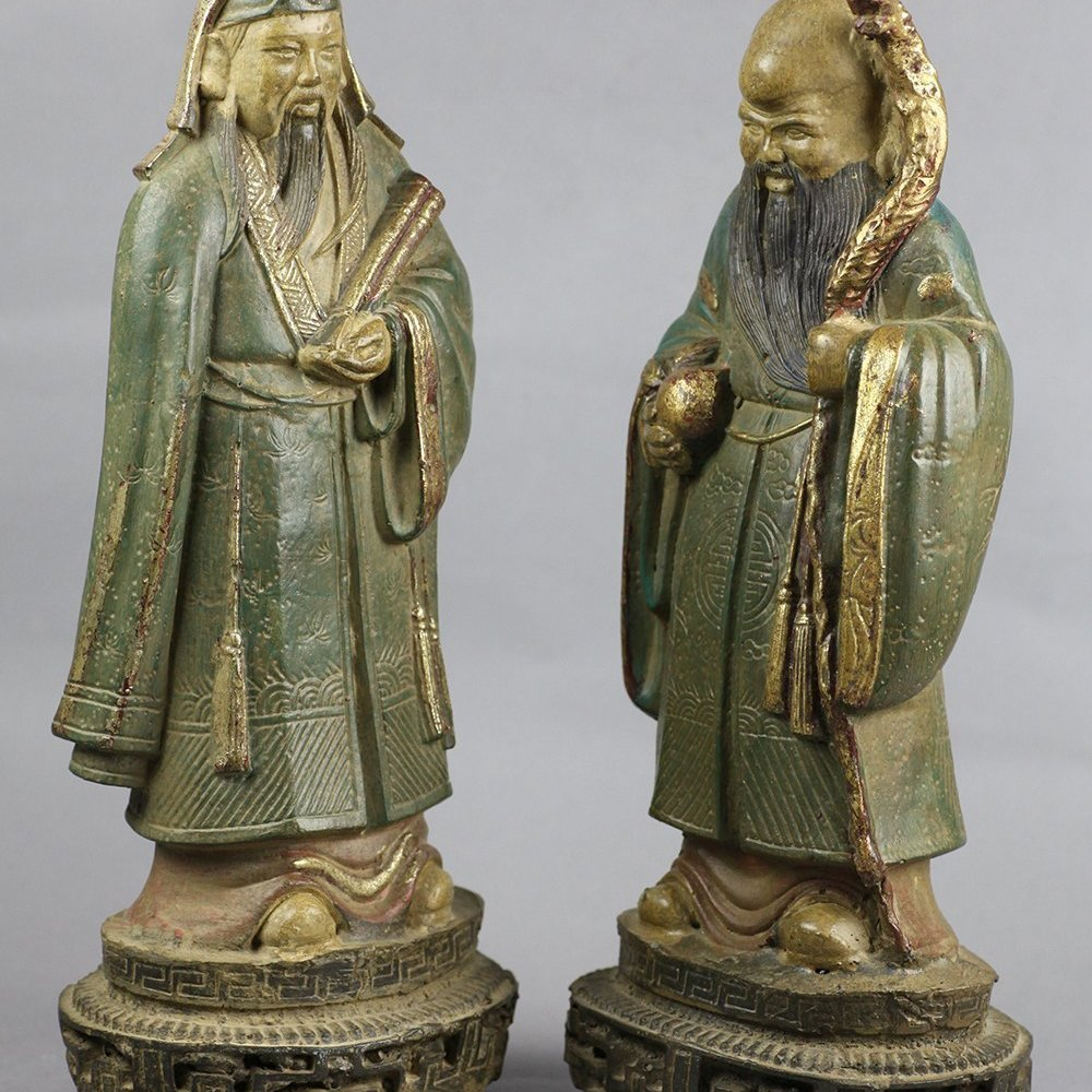 Fine Pair Antique Chinese Pottery Figures Of Immortals 19/20th C.