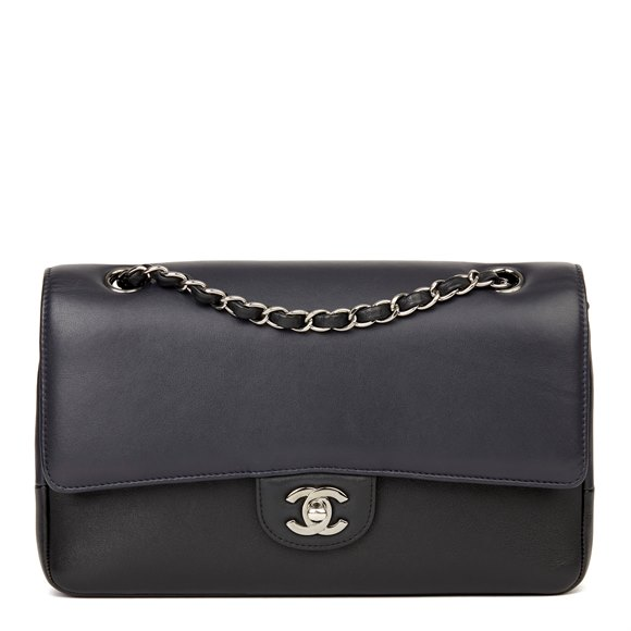 Chanel Navy & Black Smooth Calfskin Leather Pure Medium Classic Double Flap Bag