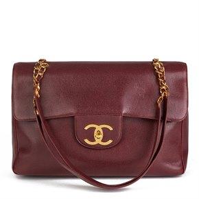 Chanel Burgundy Caviar Leather Vintage Jumbo XXL Flap Bag