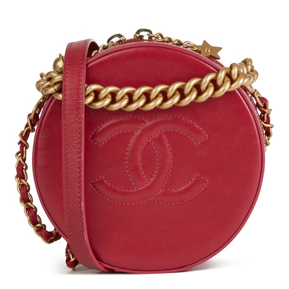 Chanel Raspberry Glazed Calfskin Leather Round as Earth Bag