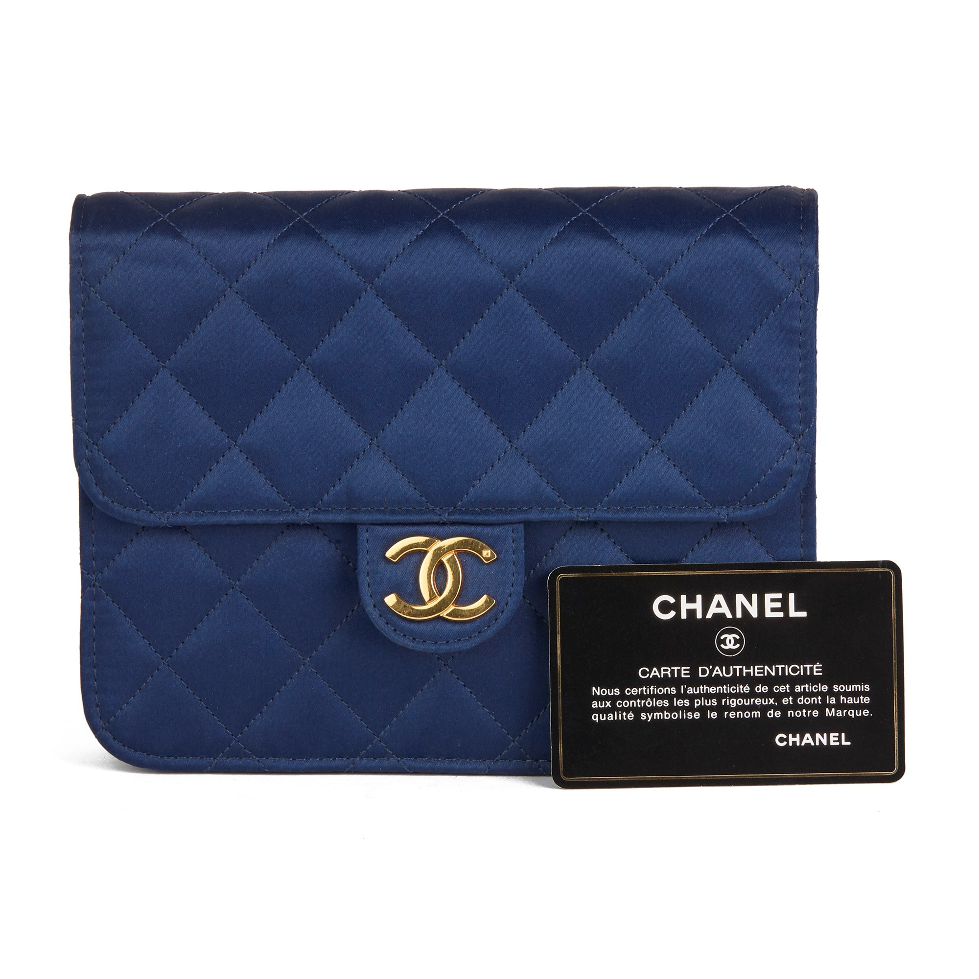 Chanel Navy Quilted Satin Vintage Mini Flap Bag