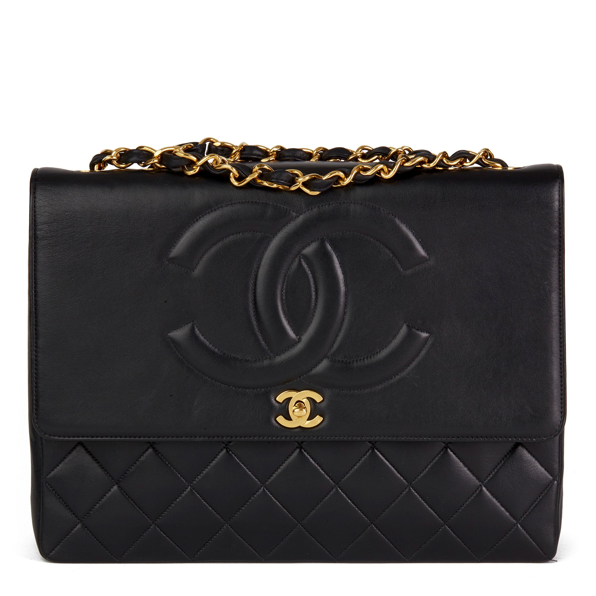 Chanel Black Quilted Lambskin Vintage Jumbo XL CC Flap Bag