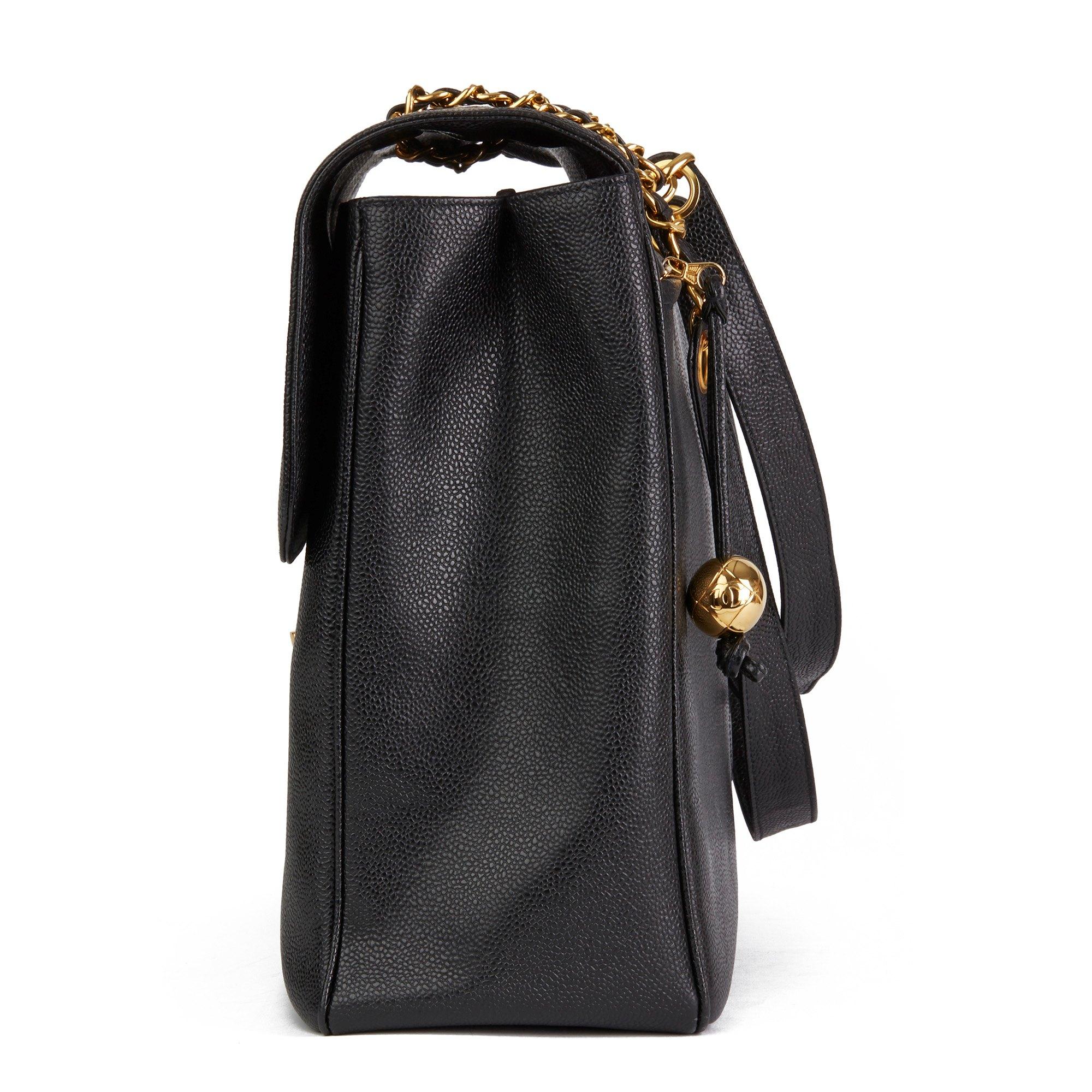 Chanel Black Caviar Leather Vintage Maxi Jumbo XXL Flap Bag