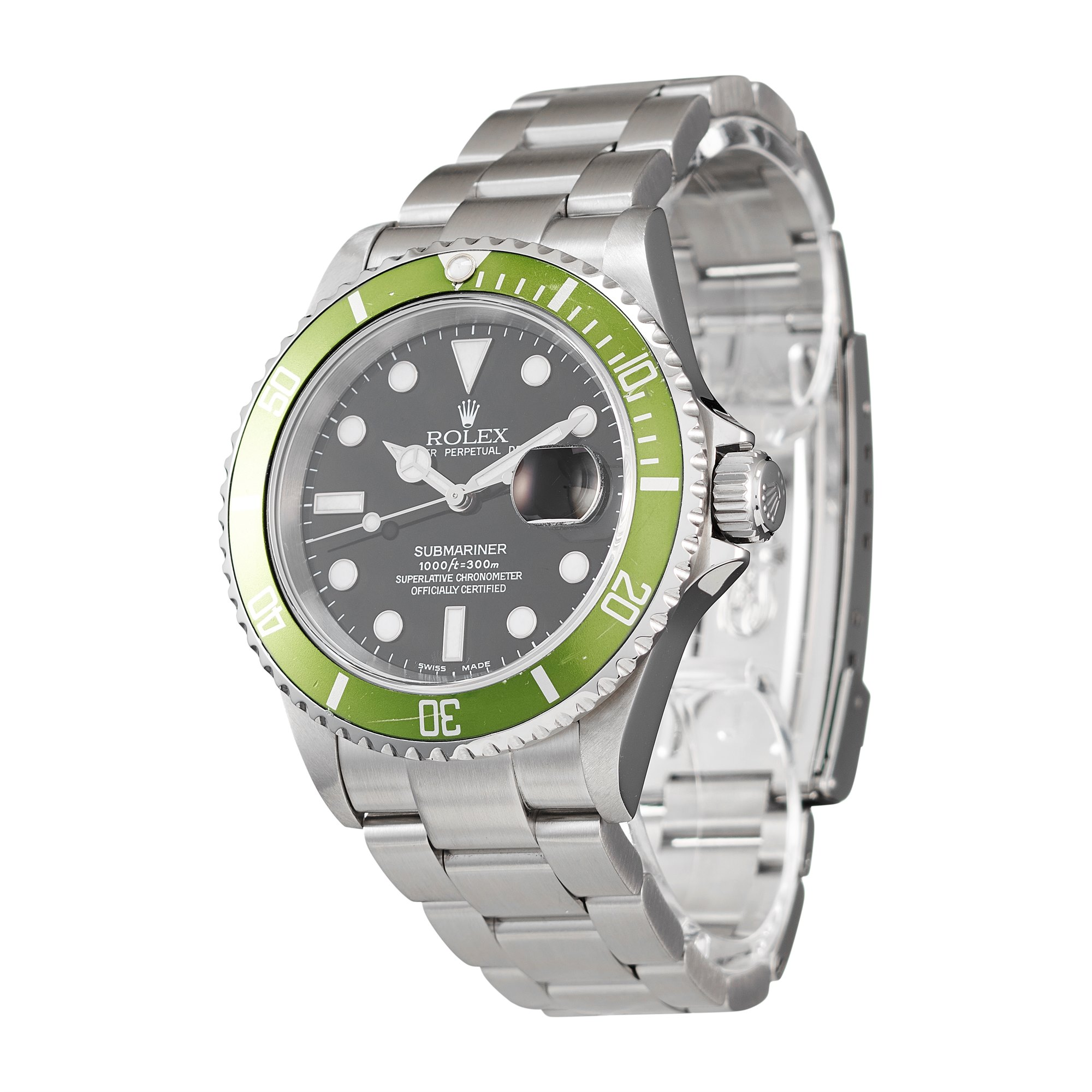 """Rolex Submariner Date """"Flat Four"""" Stainless Steel 16610LV"""