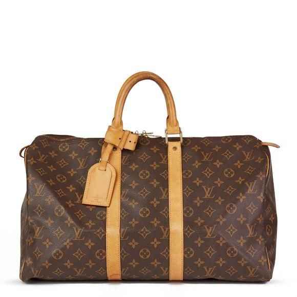 Louis Vuitton Brown Monogram Coated Canvas & Vachetta Leather Vintage Keepall 45