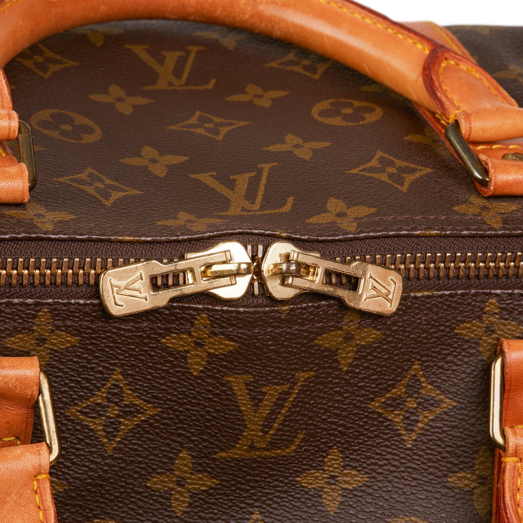 Louis Vuitton Brown Monogram Coated Canvas & Vachetta Leather Vintage Keepall 60