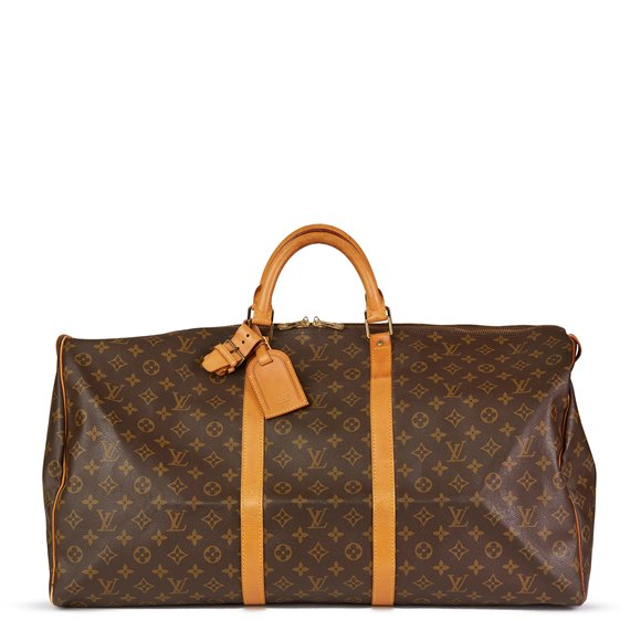 Louis Vuitton Brown Monogram Coated Canvas & Vachetta Leather Vintage Keepall 60