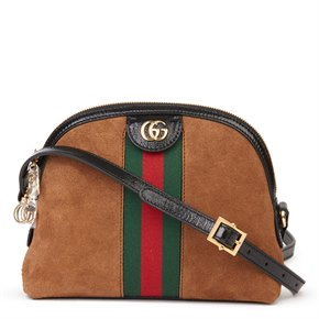 Gucci Black Aged Patent Calfskin Leather & Brown Suede Web Small Orphidia Shoulder Bag