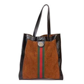 Gucci Black Aged Patent Calfskin Leather & Brown Suede Web Large Orphidia Tote