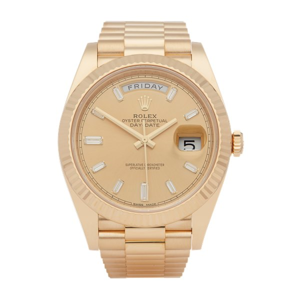 Rolex Day-Date 40 Baguette Diamond Dial 18K Yellow Gold - 228238