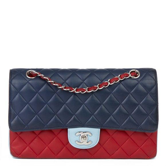 Chanel Red, Navy & Light Blue Lambskin Medium Classic Double Flap Bag