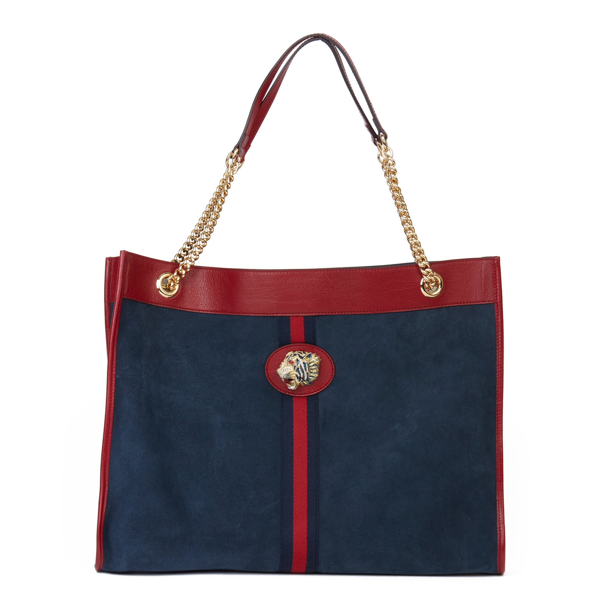 Gucci Red Aged Calfskin Leather & Blue Suede Web Large Rajah Tote