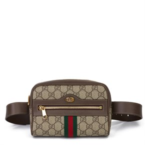 Gucci GG Supreme Canvas & Brown Calfskin Leather Web Small Orphidia Belt Bag