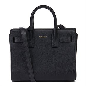 Saint Laurent Black Grained Calfskin Leather Mini Sac de Jour