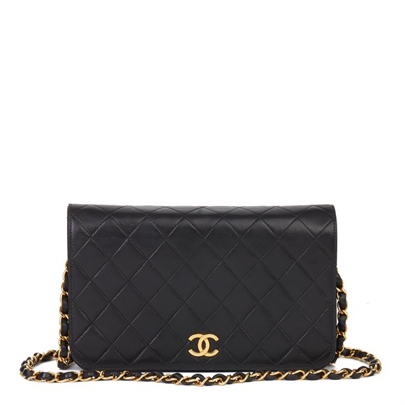 Chanel Black Lambskin Vintage Small Classic Single Full Flap Bag