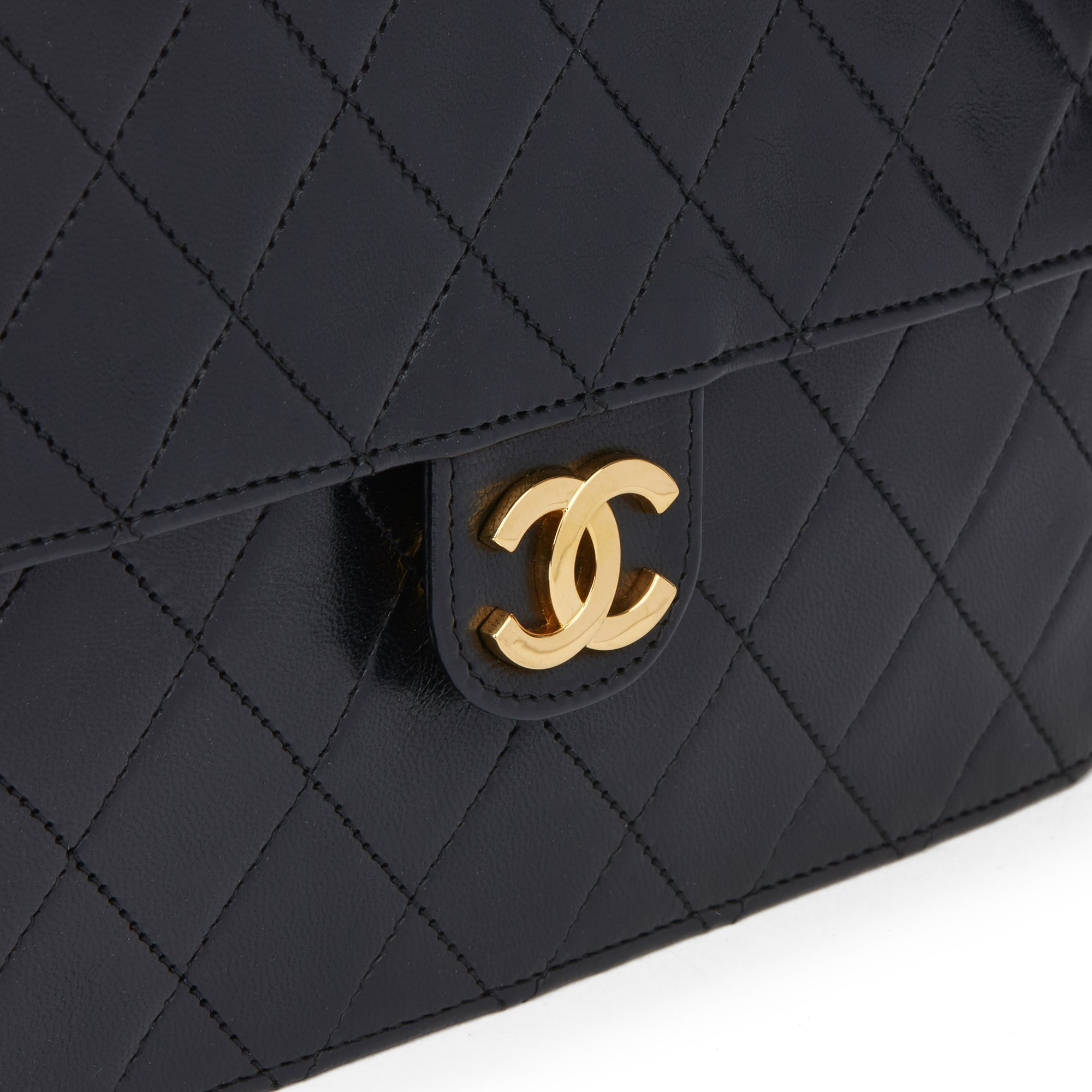 Chanel Black Quilted Lambskin Vintage Small Classic Single Flap Bag