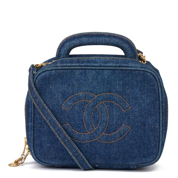 Chanel Blue Denim Vintage Timeless Vanity Bag