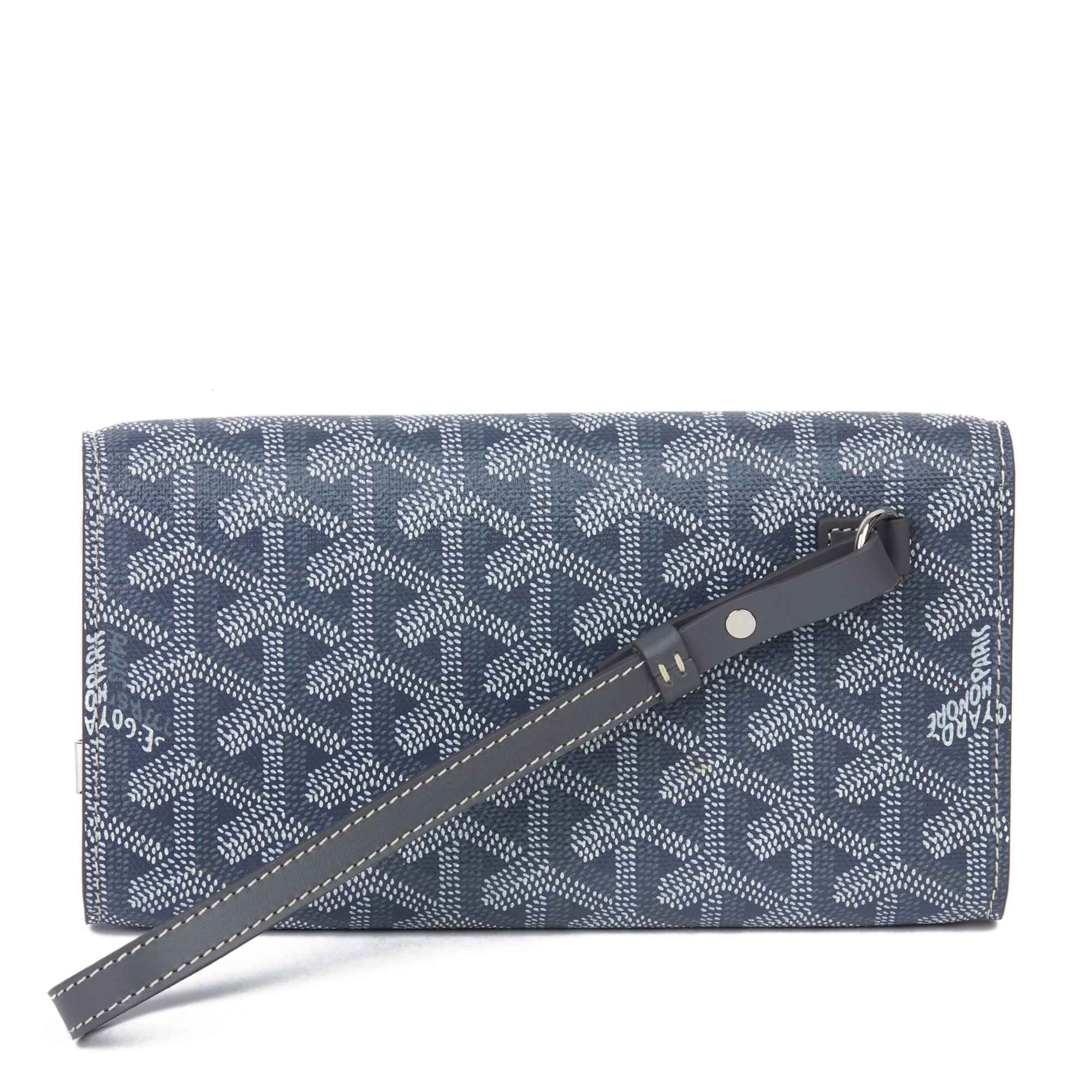 Goyard Grey Chevron Coated Canvas Mini Monte Carlo Wristlet