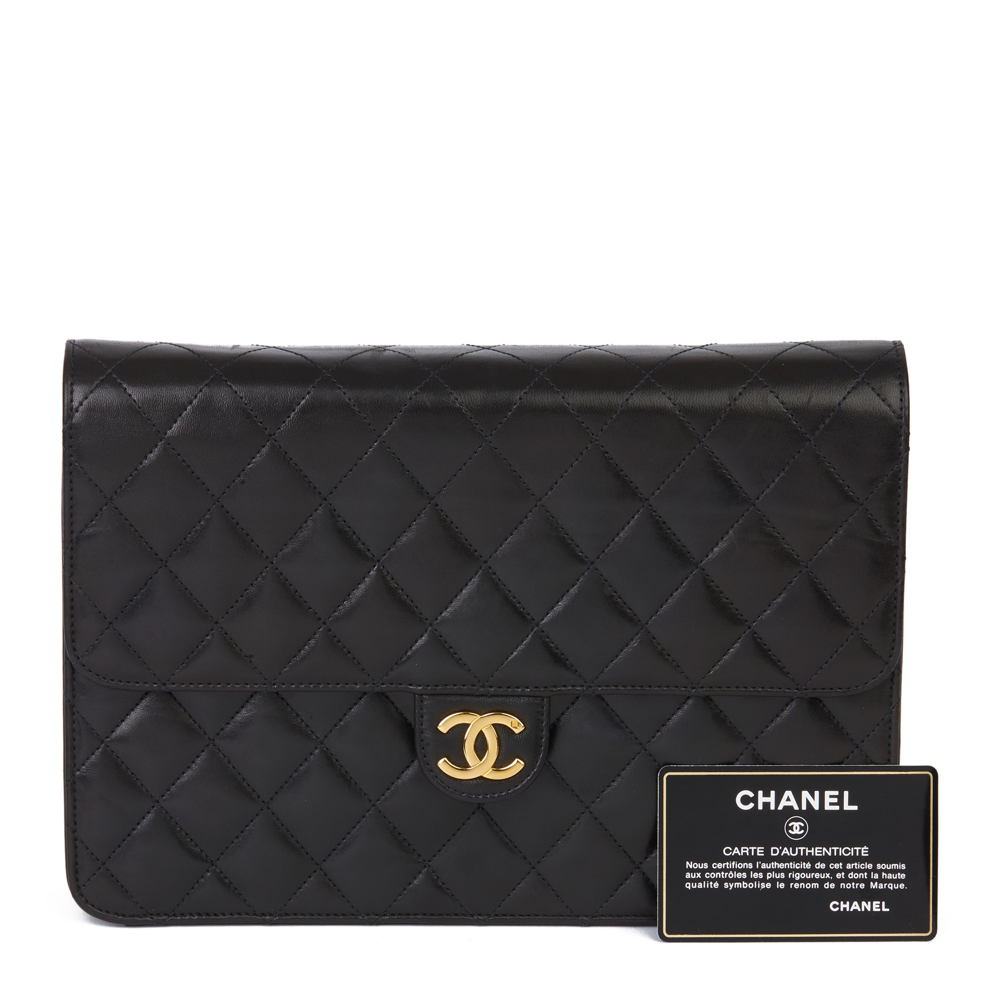 Chanel Black Quilted Lambskin Vintage Medium Classic Single Flap Bag