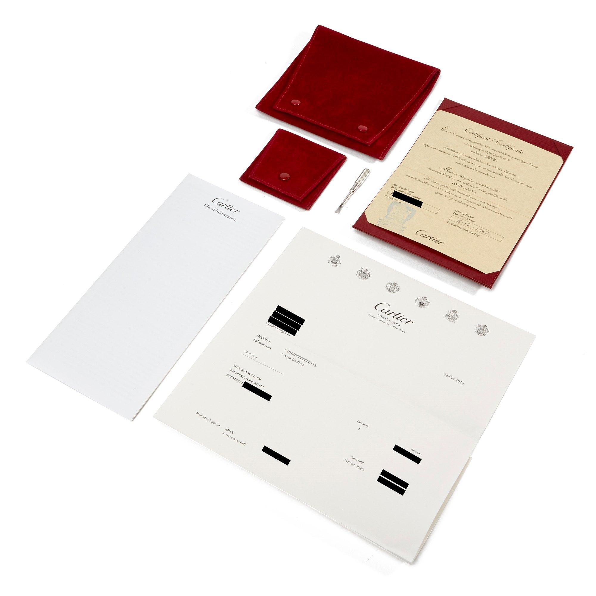 Cartier Love 18k White Gold 17cm Bangle