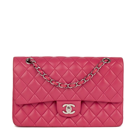Chanel Magenta Quilted Lambskin Medium Classic Double Flap Bag