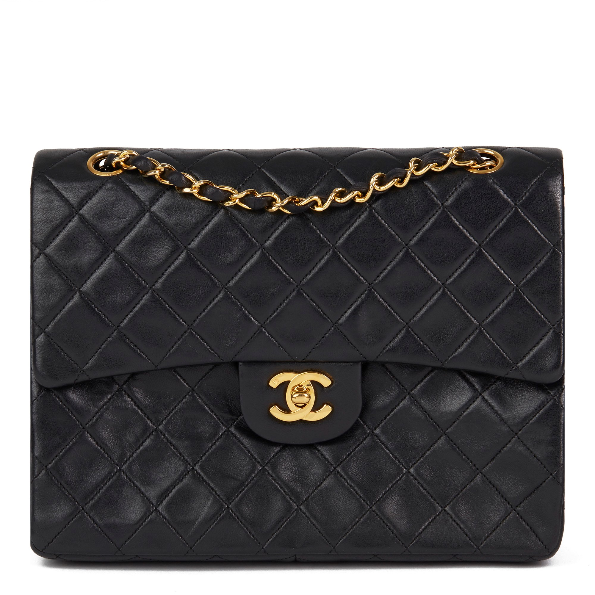 Chanel Black Quilted Vintage Lambskin Medium Tall Classic Double Flap Bag