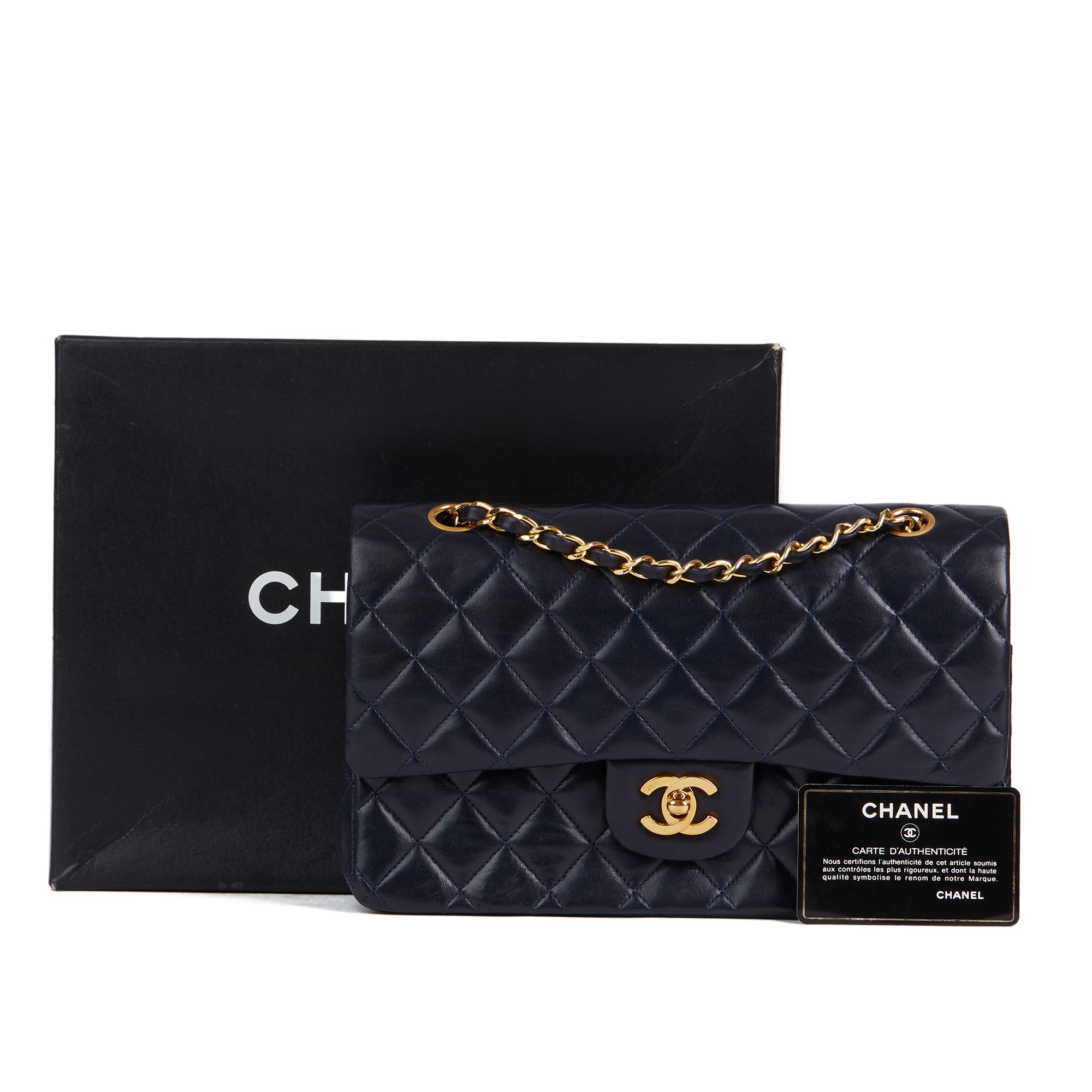 Chanel Navy Quilted Lambskin Vintage Medium Classic Double Flap Bag