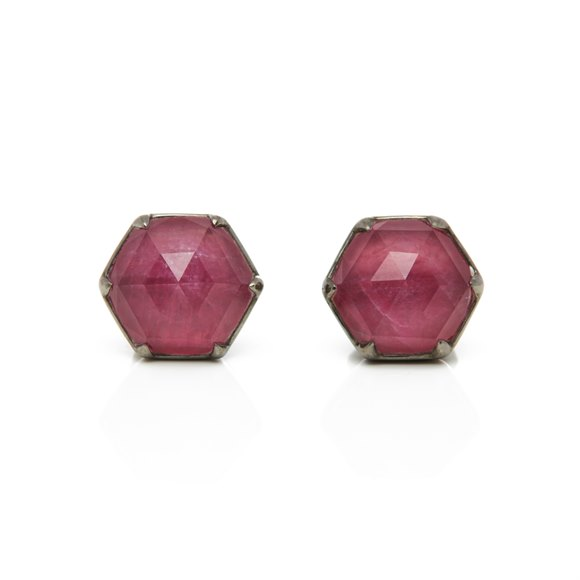 Stephen Webster Deco Haze 18ct White Gold Ruby Quartz Earrings