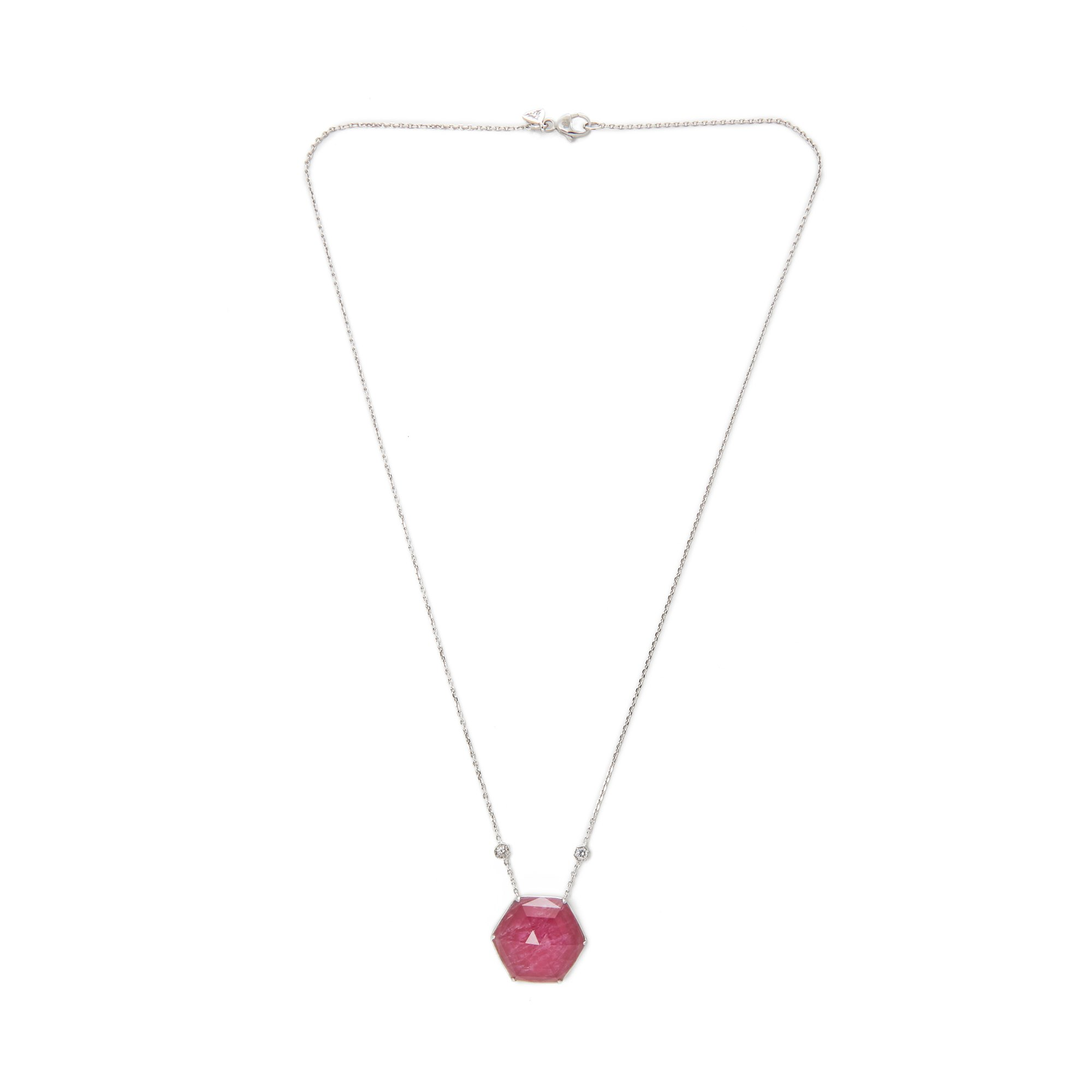 Stephen Webster Deco Haze 18ct White Gold Ruby Quartz and Diamond Pendant