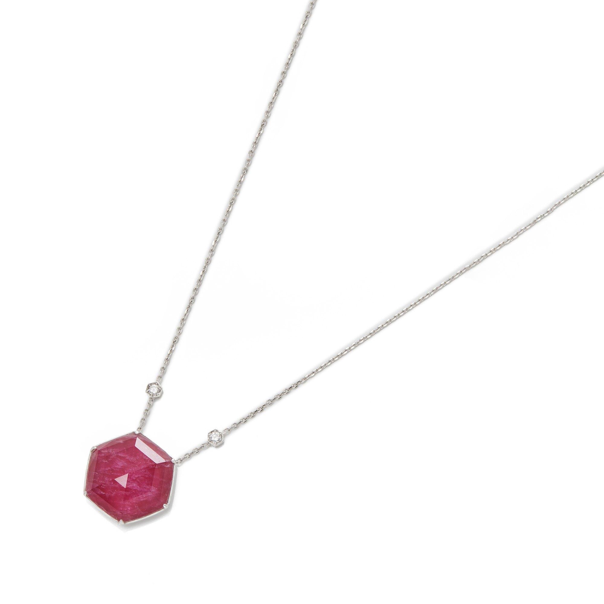 Stephen Webster Deco Haze 18ct White Gold Ruby Quartz and Diamond Pendant