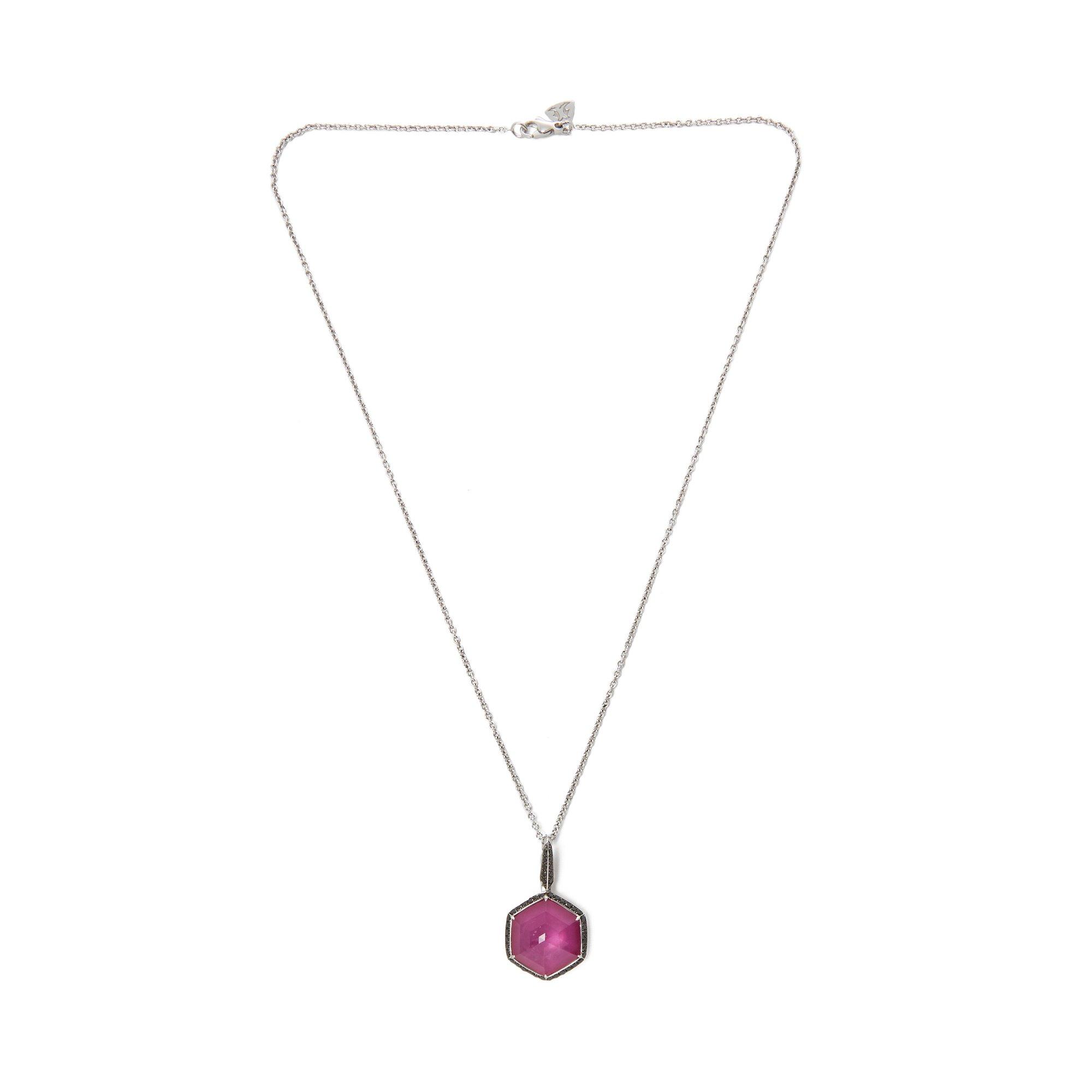 Stephen Webster Deco Haze 18ct White Gold Ruby Quartz and Black Diamond Pendant