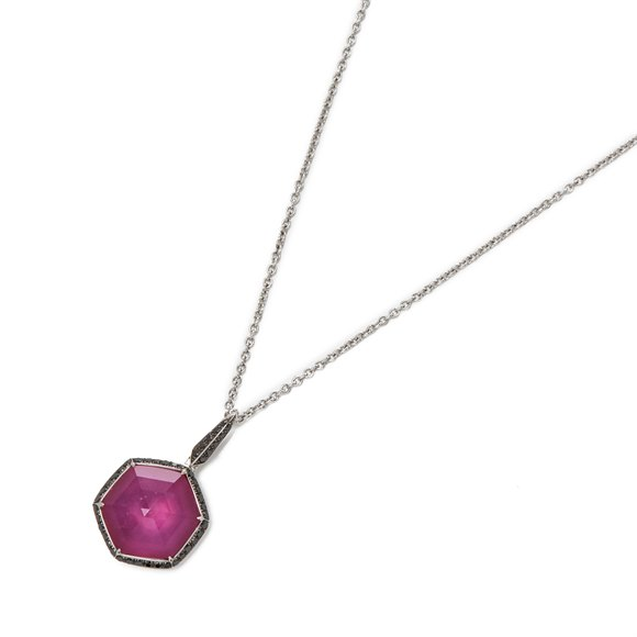 Stephen Webster Deco Haze 18ct White Gold Ruby Quartz and Black Diamond Pendant